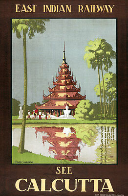 See Calcutta vintage travel poster repro 20x30