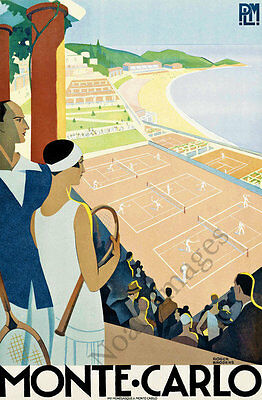 Monte Carlo vintage tennis travel poster repro 20x30