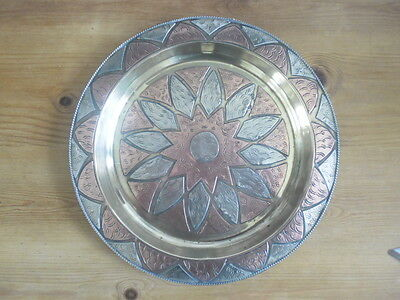 Vintage Arts & Crafts Copper/brass/white Metal Plate Wall Plaque