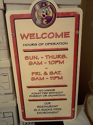 RARE Chuck E Cheese Pizza HOURS OF OPERATION WALL ART SIGN Old Chuckie