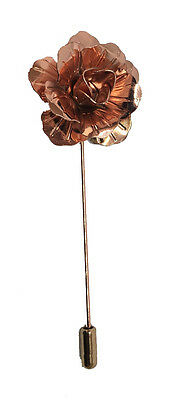 Rose Gold Handmade Metal Flower / Rose Lapel Pin, Buttonhole, Corsage, Boutonnie