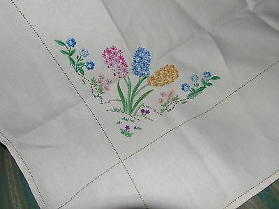 Vintage Hand Embroidered Tablecloth,BEAUTIFUL HYACINTH SPRING FLOWERS