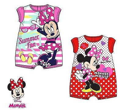Disney Minnie Mouse Baby Girls Summer  Romper Body Suit 0-23 mths