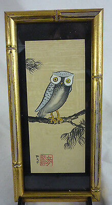 VTG JAPAN Signed Ink & Watercolor Painting on Silk - Owl -Gilt Faux Bamboo Frame