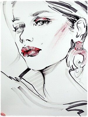 woman art drawing sketch face portrait painting fashion illustration