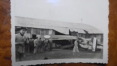 Vintage Photo Aviation Armee De L'air Crash Potez 25 Avec Insigne