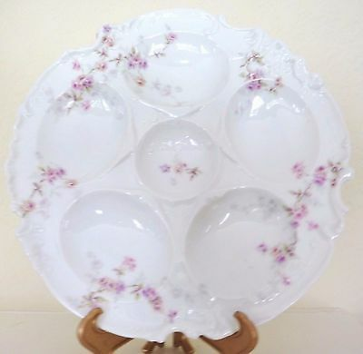 Antique Five Well Limoges Oyster Plate Roses Porcelain Haviland Sauce Well