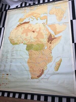 Large Vintage Retro Roll Out School Map - Africa (French)