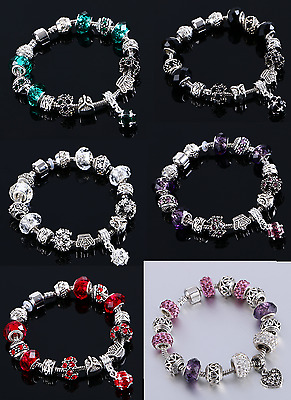 Girls/Women Silver plated Crystal Rhinestone Charms Bead Pandora Charm Bracelet