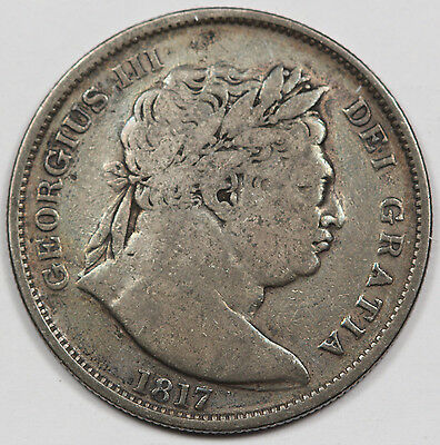 GREAT BRITAIN UK 1817 Silver Half (1/2) CROWN Coin Fine KM #672 George III