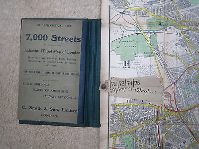 Original C. Smith & Son's Tape Indicator Map of London 1913 in 1/4 Mile Squares