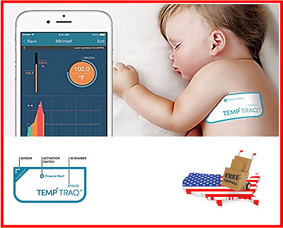 Smart Thermometer TempTraq Wearable 24HR Continuous Fever Monitoring Baby
