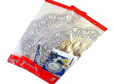 Cake Top Silver Round 36 cm, 4 Piece/Pack Food Paper Decoration Lace