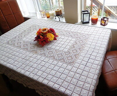 """Heirloom Italian Handmade Lace Tablecloth 68"""" X 54"""" Hand-knotted Filet Superb!"""
