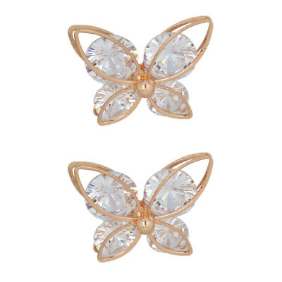 Pair of DIY Crystal Shoe Accessories Buckles Clips Butterfly Bag Decorations
