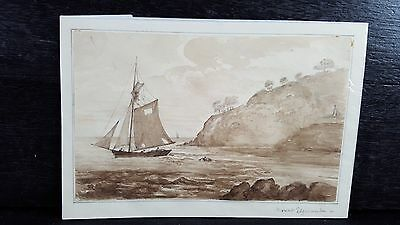 Original Antique 19th Century brown ink wash drawing Seascape Mount Edgecombe