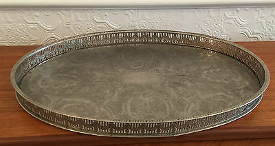 Quality Vintage Silver Plated Large Oval Chased Gallery Tray