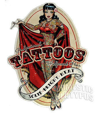 Retro Vtg Pin-Up TATTOOS PERFORMED HERE Solid-Bright-Neat METAL SIGN Tattoo Shop