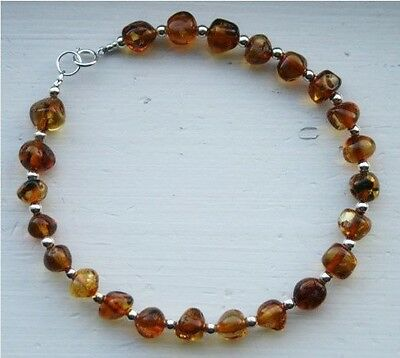 Authentic Baltic Amber & Sterling Silver Bracelet//Anklet