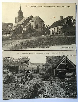 2 x Vintage WW1 French Postcard. Suzanne (Somme)