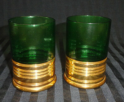 Vintage Imperial Glass 2 Half Shot Tumblers Green/gold