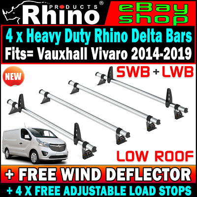 (Low Roof) SWB & LWB Rhino 4 x Delta Van Ladder Rack Bars Vauxhall Vivaro 2014+