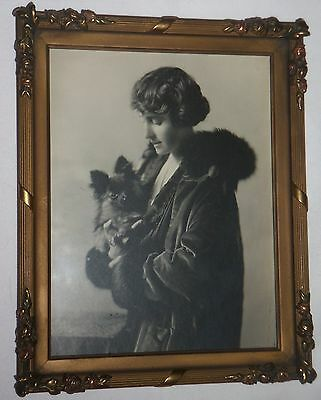 "Vintage Photo Woman & Small Dog RABJOHN & MORCOM FRAME  8""x10""  Arts Crafts"