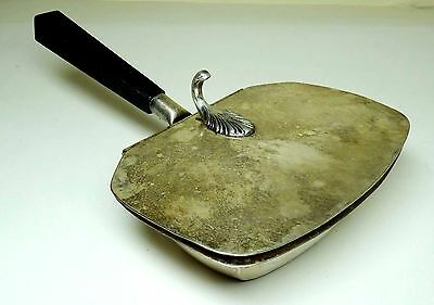 """Early 1900's Vintage Small Silver-Plated 4"""" x 6"""" Charcoal Bed-Warmer"""
