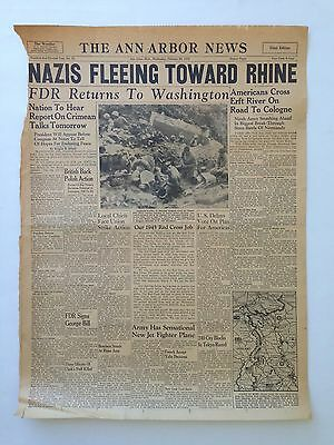 "The Ann Arbor News Front Page February 28, 1945 Newspaper WW2 Ephemera 16"" x 23"""