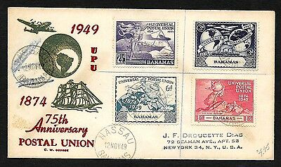 (111cents) Bahamas 1949 75th Anniversary Postal Union UPU First Day Cover
