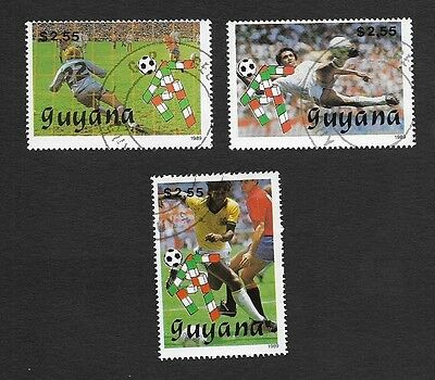 (111cents) Guyana 1989 World Cup Soccer 3v used