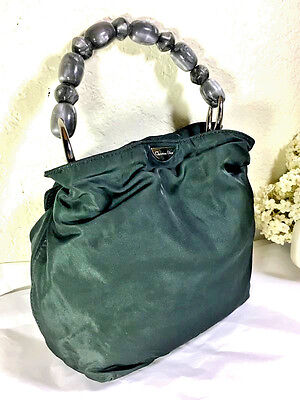 Vintage Christian DIOR Olive Green Thick Nylon Small Party Hand Bag