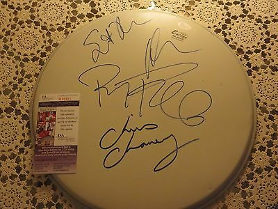 Janes Addiction Signed Drumhead  Jsa Authenticated W/ Proof Complete Band