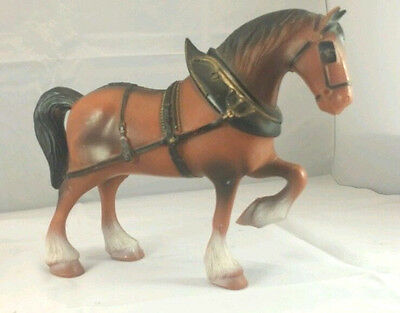 """Made in Hong Kong Vintage Golden Plum Clydesdale Horse Plastic Figurine 7"""""""