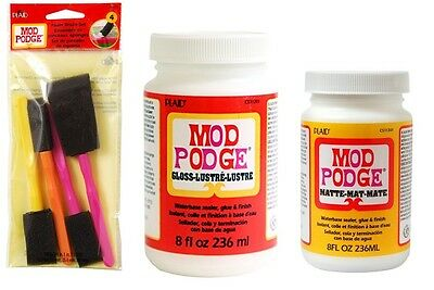 Mod Podge Gloss and Matte 8 oz twin pack Glue Sealer with free set 4 foam brush