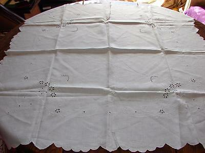 Vintage White Fine Irish Linen Table Cloth~Madeira Embroidery~35in x 35ins