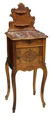 LOUIS XV STYLE MARBLE TOP BEDSIDE CABINET 19th century (1800s)