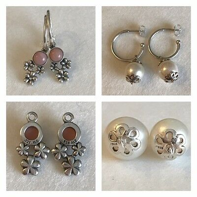 Pandora Silver Hoop Earring With 2 Pairs Of Pendant Attachments Discontinued