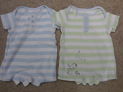 Two boys stripy Marks and Spencer romper/playsuits 0-3 months