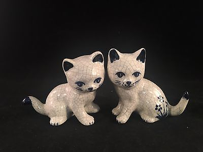 "Potting Shed Dedham Pottery Pair of Small Cats Kittens 3"" Tall"