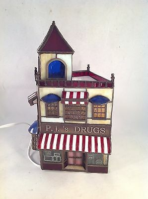 "Forma Vitrum Stained Glass P.J.'s Drugs Drugstore, 10"" Tall"