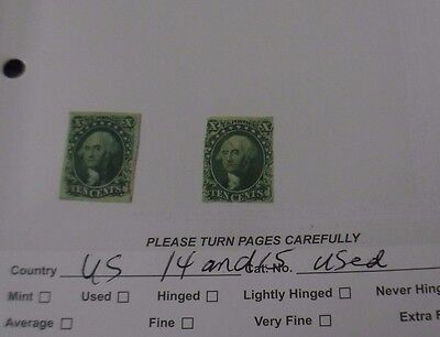 US Scott 14 and 15 used CV$400 VF and G