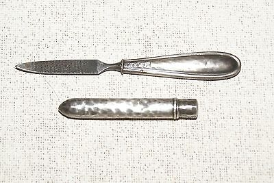 Antique Hammered Art Deco Silver Handled Art Deco Nail File and Vial
