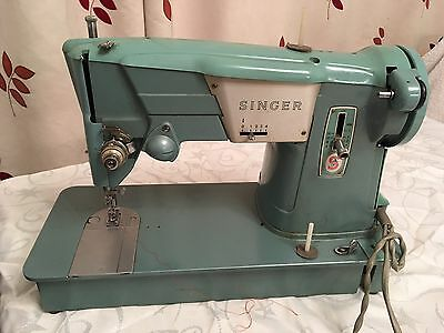 Singer sewing machine 327K Turquoise with pedal & case