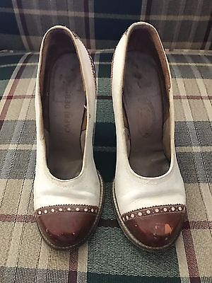 Vintage 1930's Women's Heels Pumps Shoes 2 tone leather Extra Small