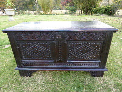 Country Oak Heavily Carved Country Coffer 1690  Free Shipping