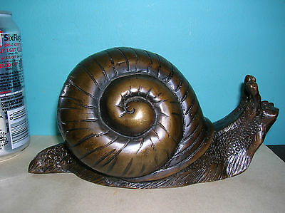 Vintage snail garden statue decorative art piece cast bronze excellent condition