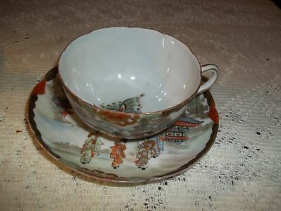 Delicate Fine Porcelain Signed Gilt Japanese Cup & Saucer Geisha Butterfly