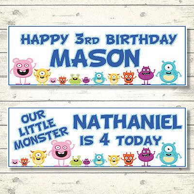 2 PERSONALISED BABY SHARK FAMILY BIRTHDAY BANNERS 800x297mm ANY NAME//AGE