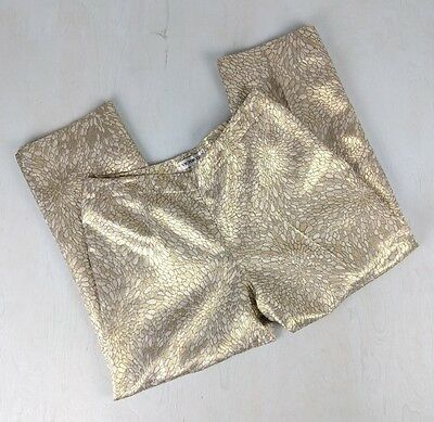 Vintage 90's Victor Costa Metallic Gold Jaquard Pin Up High Waist Ankle Pant 12